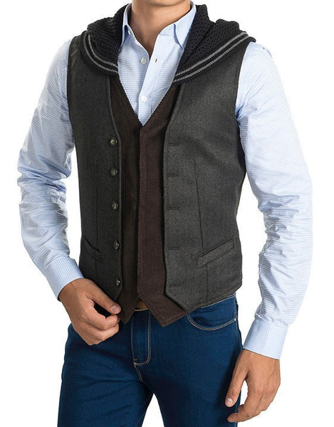 RON TOMSON - Hooded Mixed Media Vest - RNT23 - 1