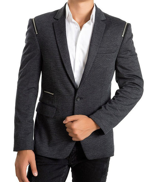 RON TOMSON - Key Pattern Two Button Notch Lapel Zip Blazer - RNT23 - 1