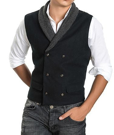 RON TOMSON - Shawl Lapel Double Breasted Vest - RNT23 - 1