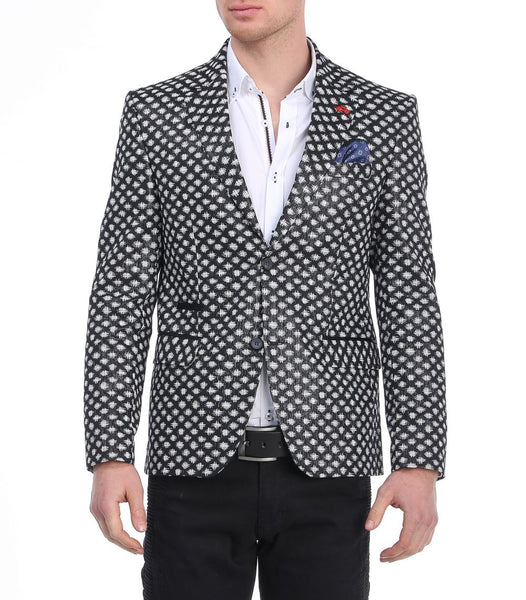 RON TOMSON - Black Checkered Fitted Blazer - RNT23 - 1