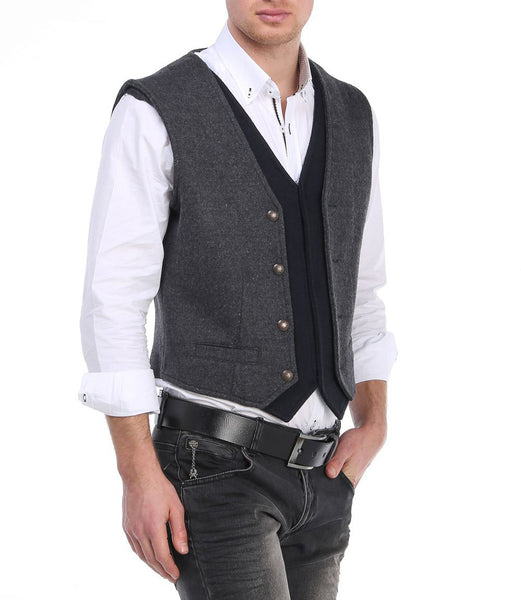 RON TOMSON - Layered Look Slim Fit Vest - RNT23 - 2