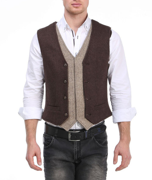 RON TOMSON - Layered Look Slim Fit Vest - RNT23 - 4