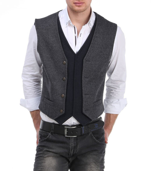 RON TOMSON - Layered Look Slim Fit Vest - RNT23 - 1