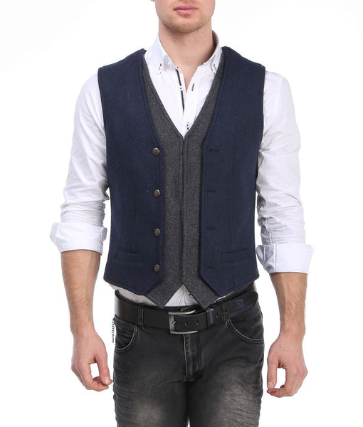 RON TOMSON - Layered Look Slim Fit Vest - RNT23 - 6