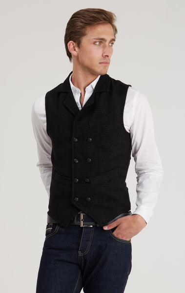 Double Breasted Slim Fit  Vest - BLACK