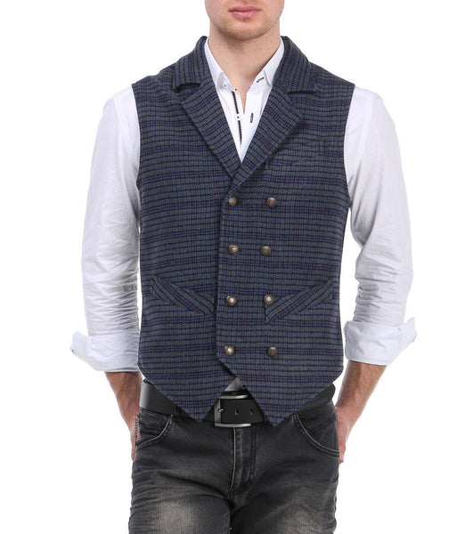 RON TOMSON - Mixed Media Double Breasted Vest - RNT23 - 1