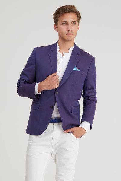 Slim Fit Dotted Sport Coat - Wine