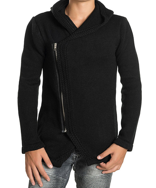 RON TOMSON - Zipper Closure Hooded Fitted Cardigan - RNT23 - 1
