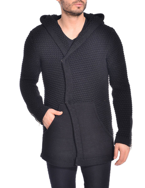 RON TOMSON - Side Closure Zipper Sleeve Hooded Cardigan - RNT23 - 1
