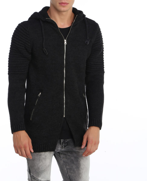RON TOMSON - Moto Shoulder Hooded Zipper Cardigan - RNT23 - 1