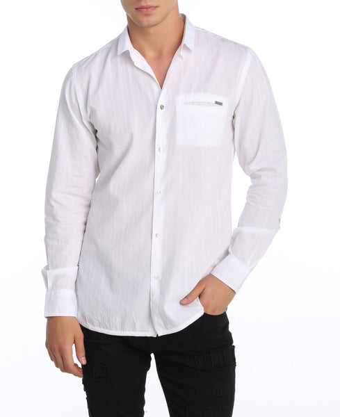 RON TOMSON - Oxford Style Narrow Collar Shirt - White - RNT23 - 1