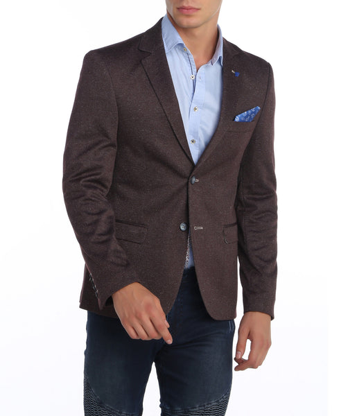 RON TOMSON - Notch Lapel Contrast Stitch Fitted Blazer - RNT23 - 1