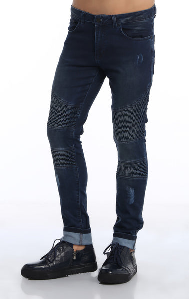 RON TOMSON - Quilted Skinny Washed Moto Jeans  - Navy - RNT23 - 2