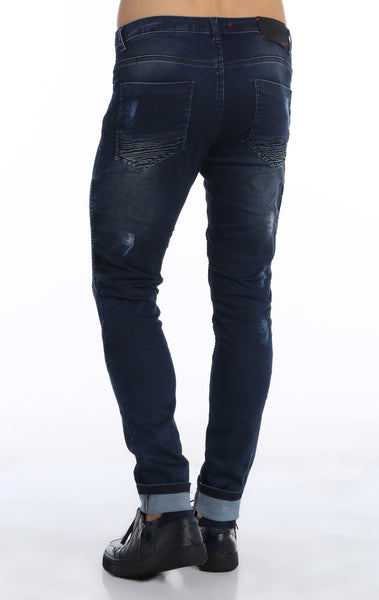 RON TOMSON - Quilted Skinny Washed Moto Jeans  - Navy - RNT23 - 4