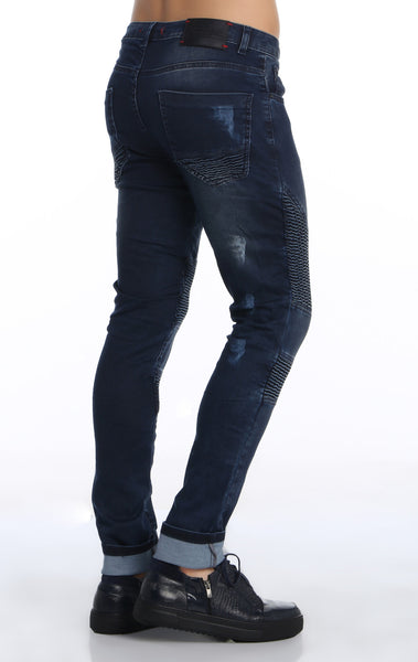 RON TOMSON - Quilted Skinny Washed Moto Jeans  - Navy - RNT23 - 5