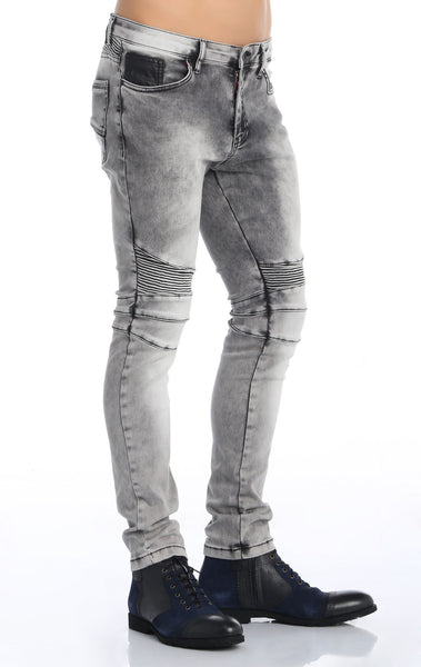 RON TOMSON - Quilt Knee Washed Motorcycle Jeans - Grey - RNT23 - 2