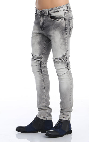 RON TOMSON - Quilt Knee Washed Motorcycle Jeans - Grey - RNT23 - 3