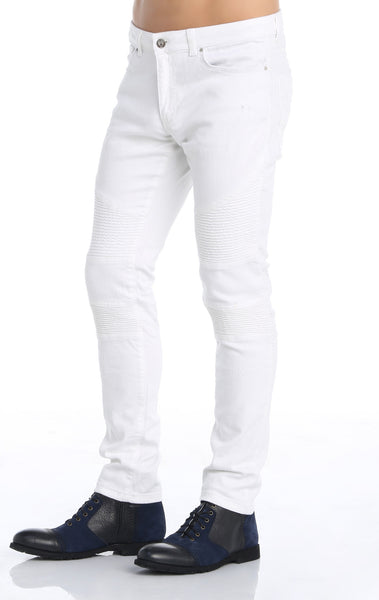 RON TOMSON - Quilted Skinny Washed Moto Jeans  - White - RNT23 - 2