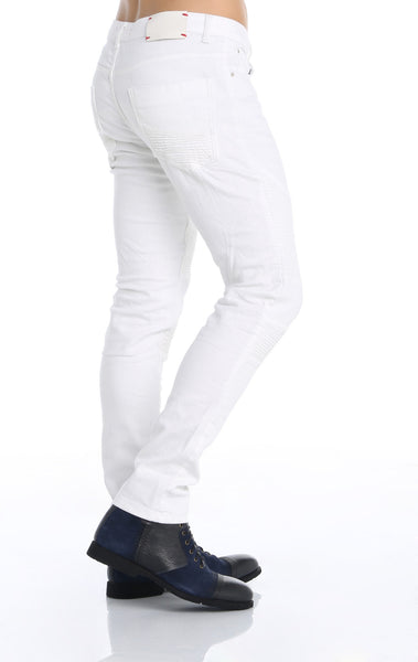 RON TOMSON - Quilted Skinny Washed Moto Jeans  - White - RNT23 - 3