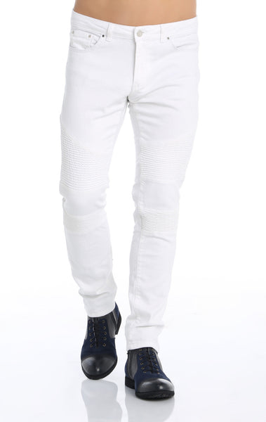 RON TOMSON - Quilted Skinny Washed Moto Jeans  - White - RNT23 - 1