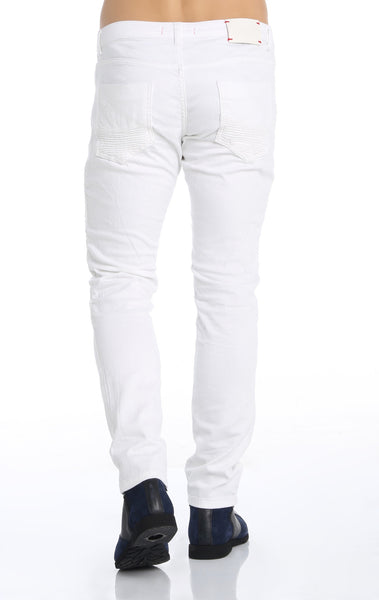 RON TOMSON - Quilted Skinny Washed Moto Jeans  - White - RNT23 - 4