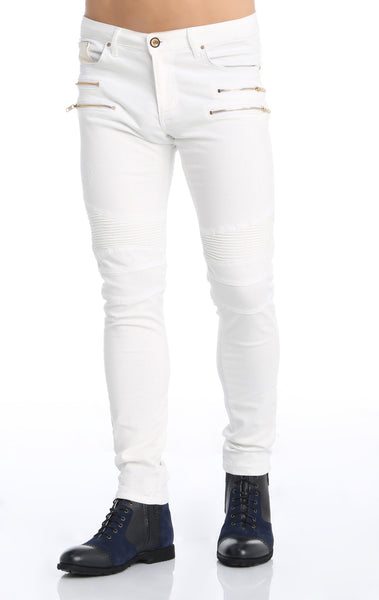 RON TOMSON - Zipper Front Moto Jeans  - White Gold - RNT23 - 1