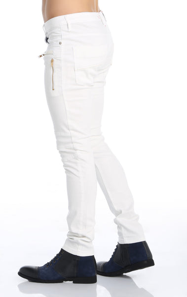 RON TOMSON - Multi Zipper Moto Jeans - White Gold - RNT23 - 3