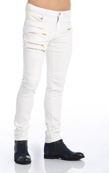 RON TOMSON - Multi Zipper Moto Jeans - White Gold - RNT23 - 2