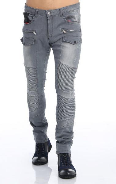 RON TOMSON - Flap Pocket Distressed Moto Jeans - Grey - RNT23 - 1