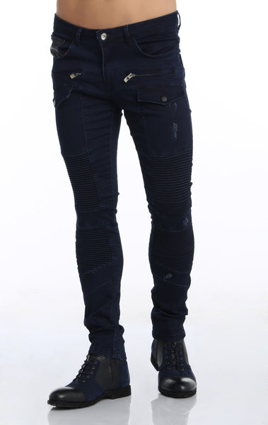 RON TOMSON - Flap Pocket Distressed Moto Jeans - Navy - RNT23 - 1