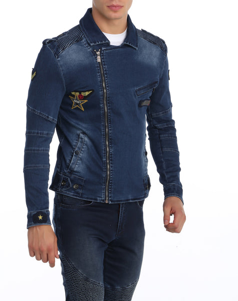 RON TOMSON - Patchwork Denim Motorcycle Jacket - RNT23 - 1