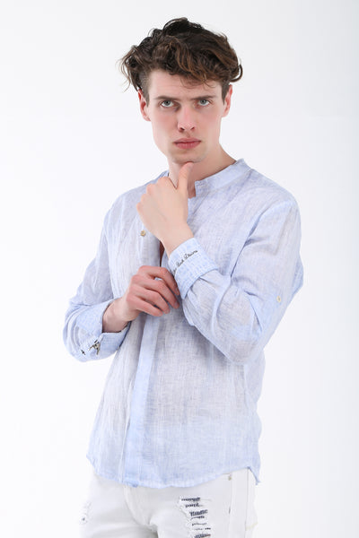 Hidden Placket Linen Shirt - Blue