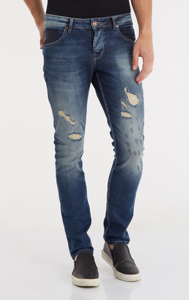 Ripped and Stitched Jeans - Navy
