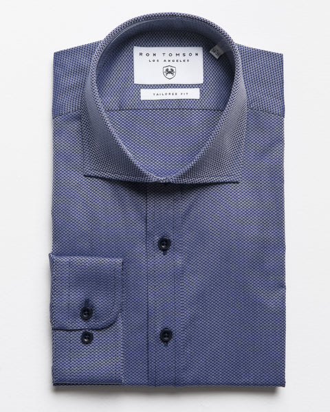 Spread Collar Dress Shirt - Navy White A