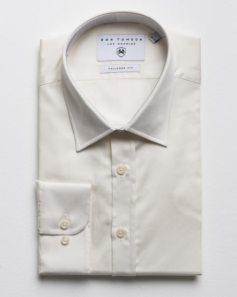 Italian Collar Dress Shirt - Beige