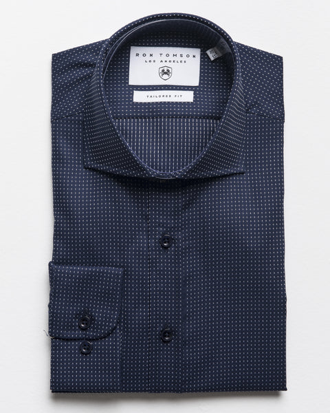 Spread Collar Dress Shirt - Dark Navy White A