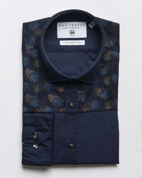Slim Fit Printed Shirt - Navy Brown