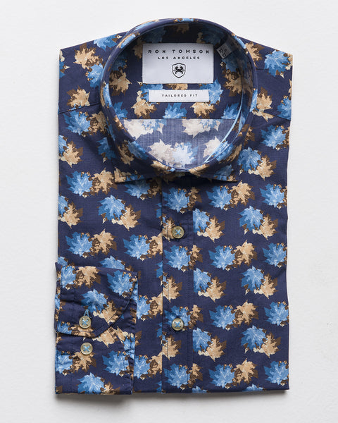 Slim Fit Printed Shirt - Navy Turquoise