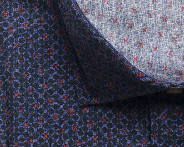 Slim Fit Printed Shirt - Navy Red