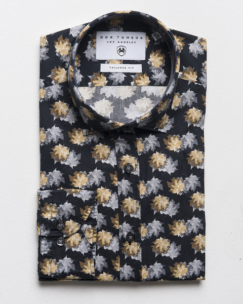 Slim Fit Printed Shirt - Black Grey