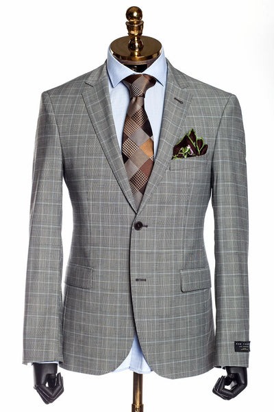 Slim Fit Superfine Merino Wool Check Suit - Beige