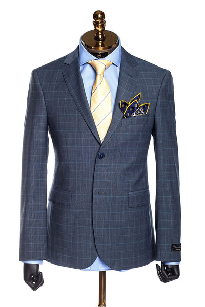 Slim Fit Superfine Merino Wool Check Suit - Blue