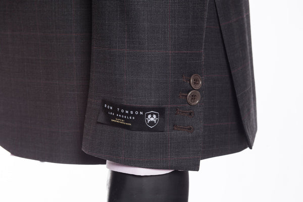 Slim Fit Superfine Merino Wool Check Suit - Black