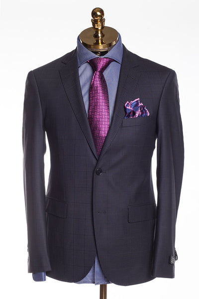 Slim Fit Superfine Merino Wool Plaid Suit - Navy