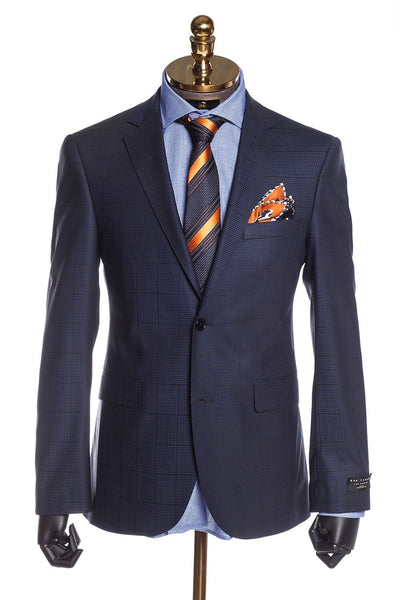 Slim Fit Superfine Merino Wool Plaid Suit - Dark Blue