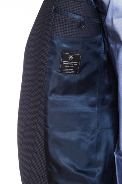 Slim Fit Superfine Merino Wool Plaid Suit - Navy Grey