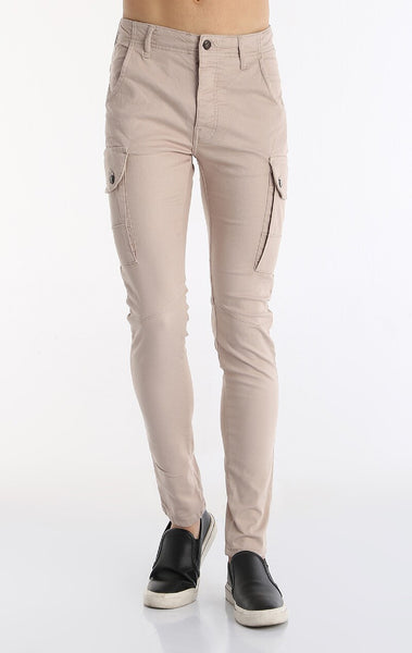 Slim Fit Cotton Pants - Camel