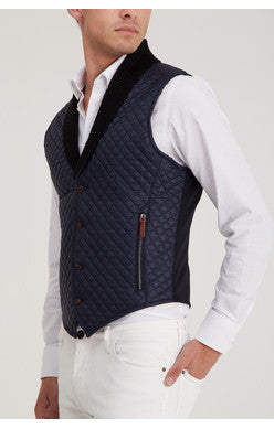 QUILTED SHAWL COLLAR VEST - NAVY