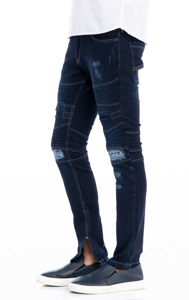 RON TOMSON - Lightweight Flap pocket Moto Jeans - Navy - RNT23 - 2