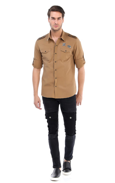 RON TOMSON - Chest Pocket Button Down Patch Shirt - Camel - RNT23 - 4